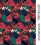 dark pattern with tropical... | Shutterstock .eps vector #788782120