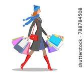 shopper young woman. stylish... | Shutterstock . vector #788784508