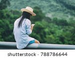 woman living smartphone alone.... | Shutterstock . vector #788786644