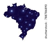 blank blue brazil of map... | Shutterstock .eps vector #788786890