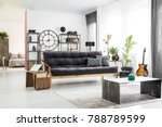 green vase in front of a dark... | Shutterstock . vector #788789599