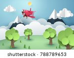 paper art of pink plane flying... | Shutterstock .eps vector #788789653