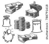 set of money  cash. black and... | Shutterstock .eps vector #788791618
