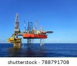 beauty drilling rig on platform | Shutterstock . vector #788791708
