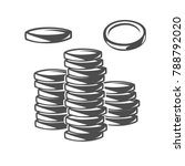 coins. black and white vector... | Shutterstock .eps vector #788792020