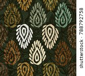 seamless pattern with ethnic... | Shutterstock . vector #788792758