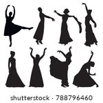 set of woman dancing silhouettes | Shutterstock .eps vector #788796460