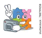 photographer puzzle mascot... | Shutterstock .eps vector #788799058