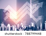 abstract digital arrows on city ... | Shutterstock . vector #788799448