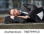 overworked business man is... | Shutterstock . vector #788799913
