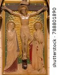 Small photo of LONDON, GREAT BRITAIN - SEPTEMBER 17, 2017: The Crucifixion as the Station of the Cross in church of St. James Spanish Place carved in alabaster by Geoffrey Webb (1915).