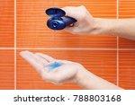 shower gel on hand  man is... | Shutterstock . vector #788803168