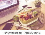 close up green lunch box on... | Shutterstock . vector #788804548