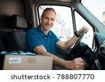 delivery man driving van with... | Shutterstock . vector #788807770