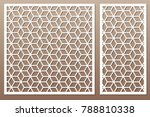set decorative card for cutting.... | Shutterstock .eps vector #788810338