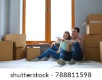 couple moving in house sitting... | Shutterstock . vector #788811598