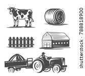 farm collection. black and... | Shutterstock .eps vector #788818900