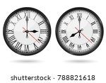 retro clock with roman numerals ... | Shutterstock .eps vector #788821618