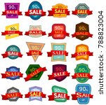 set of twenty discount stickers.... | Shutterstock .eps vector #788823004
