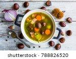 chestnut soup on a vegetable... | Shutterstock . vector #788826520