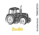 tractor. black and white vector ... | Shutterstock .eps vector #788828554