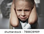 helpless little girl covering...   Shutterstock . vector #788828989