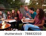 teenagers at a fire pit eating... | Shutterstock . vector #788832010