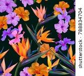 vector tropical flowers...   Shutterstock .eps vector #788834704