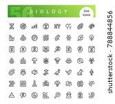 set of 56 biology line icons... | Shutterstock .eps vector #788844856