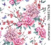 watercolor nature seamless... | Shutterstock . vector #788851768