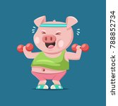 cute pig cartoon character... | Shutterstock .eps vector #788852734