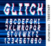 glitch distorted font letters... | Shutterstock .eps vector #788855689