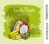 fresh exotic fruits poster for... | Shutterstock .eps vector #788859550