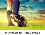 soccer ball with feet player on ... | Shutterstock . vector #788859586