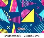 memphis seamless pattern.... | Shutterstock .eps vector #788863198
