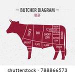 cut of beef. poster butcher... | Shutterstock .eps vector #788866573