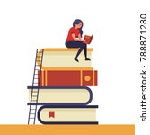 girl sitting on pile of books... | Shutterstock .eps vector #788871280