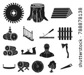 sawmill and timber black icons... | Shutterstock .eps vector #788878138