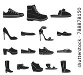 a variety of shoes black icons... | Shutterstock .eps vector #788878150