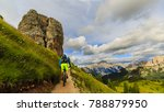 view of cyclist riding mountain ... | Shutterstock . vector #788879950