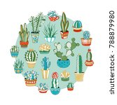 cacti and succulents round... | Shutterstock .eps vector #788879980
