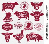 13 butchery logo  label  emblem ...   Shutterstock .eps vector #788880994