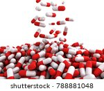 falling red capsules on white... | Shutterstock . vector #788881048