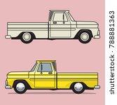 Retro Pickup Truck On Color...