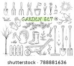 hand drawn set of isolated... | Shutterstock . vector #788881636