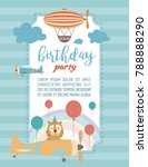 happy birthday cartoon card... | Shutterstock .eps vector #788888290