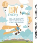happy birthday cartoon card... | Shutterstock .eps vector #788888296