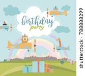 Stock vector happy birthday cartoon card with air balloons and plane vector illustration 788888299