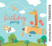 happy birthday cartoon card... | Shutterstock .eps vector #788888308
