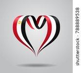 egyptian flag heart shaped wavy ...   Shutterstock . vector #788889538